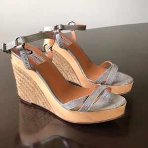 Lanvin Textured Gray Strappy Open Toe 10M Wedges